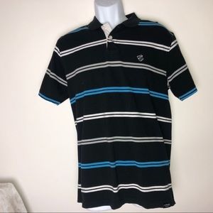 Southpole Polo Striped Black Shirt Large Men's